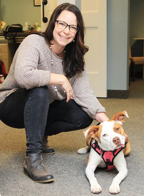 Chiropractor Durham NC Dr. Danielle Fratellone and Therapy Dog Shasta